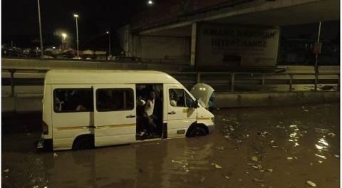 Parts of Kwame Nkrumah Circle flooded again after Sunday's rain