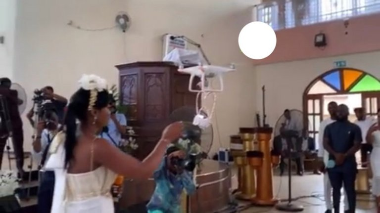 (Video) Drone Delivers Wedding Rings To Kennedy And Tracy Osei At The Their White Wedding