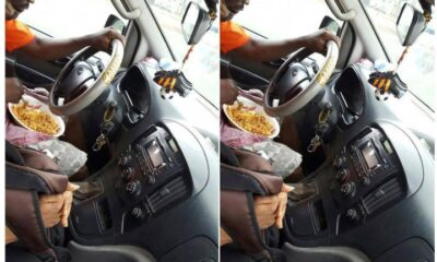 Trotro Driver Causes Stir Online After He Was Spotted Eating Rice While Driving His Passengers