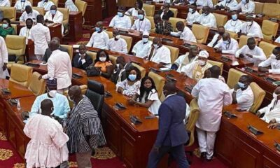 Video: Chaos as NDC MPs storm Parliament to occupy 'Majority side'