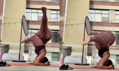 Heavily Pregnant Woman in Scary Yoga Position [Video]