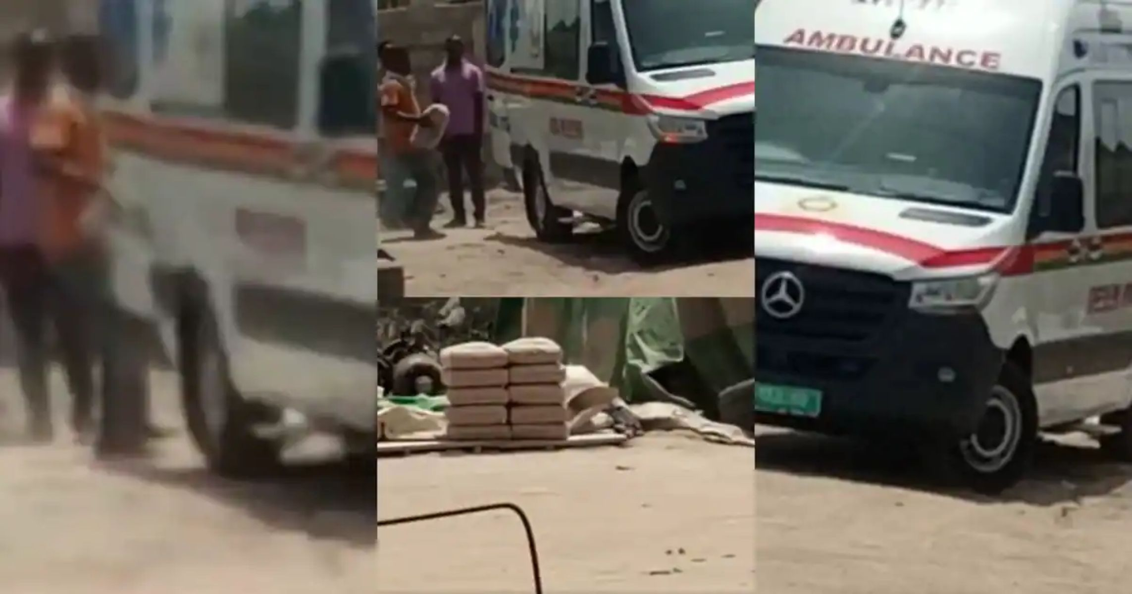 Enti Ghana Eb3y3 Yie Ni? Ghanaians React After Video Of Akufo-Addo's Ambulance Being Used To Carry Cement Went Viral
